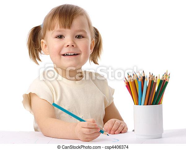 colorare, carino, bambino, disegnare, matite - csp4406374