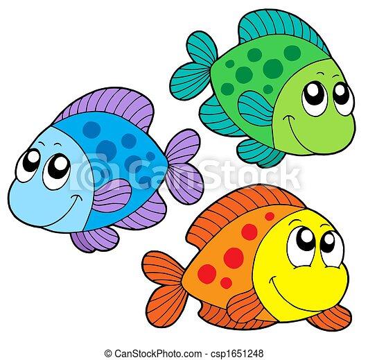 colorare, carino, pesci - csp1651248