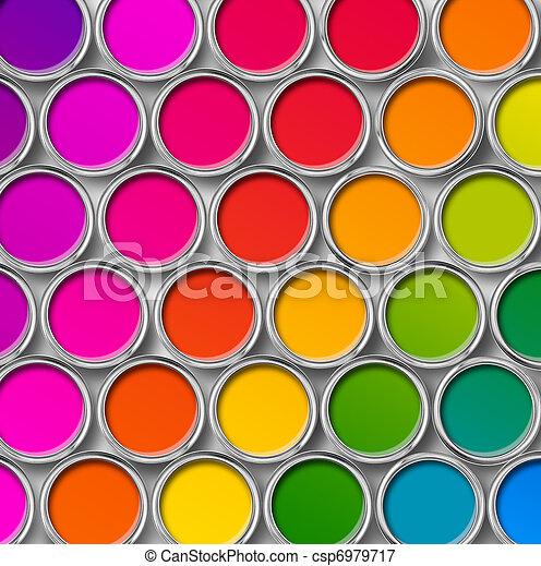 colorare, cima, dipingere stagno, lattine, vista - csp6979717