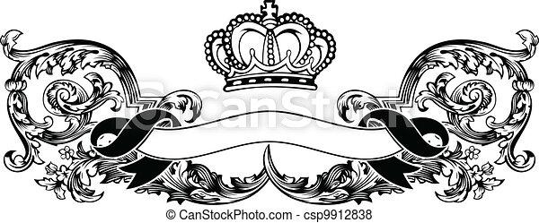 colorare, corona reale, curve, uno, vendemmia, bandiera - csp9912838