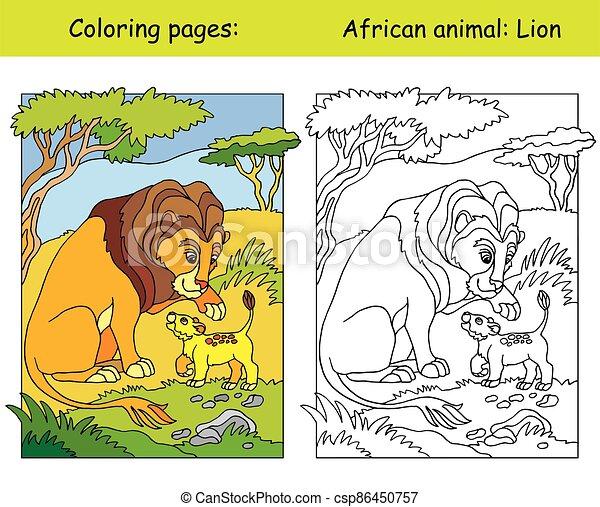 colorare, leone, coloritura - csp86450757