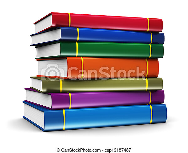 colorare, libri, pila - csp13187487