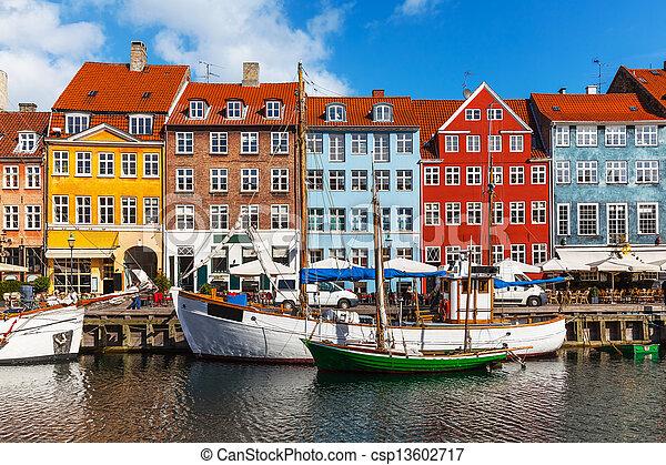 colorare, nyhavn, costruzioni, danimarca, copehnagen - csp13602717