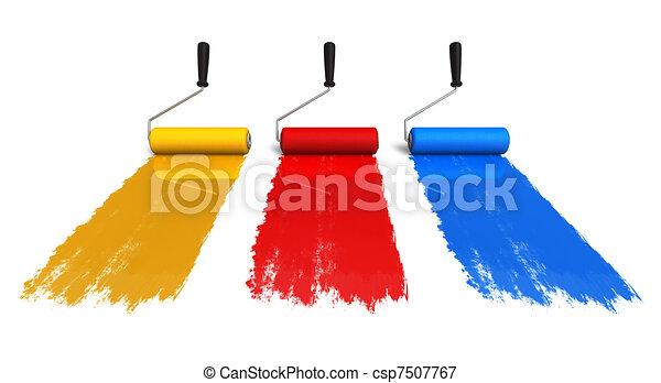 colorare, piste, spazzole, rullo, vernice - csp7507767