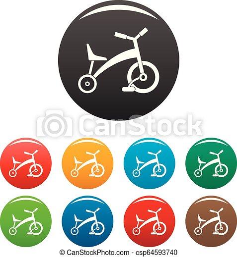 colorare, triciclo, set, bambini, icone - csp64593740