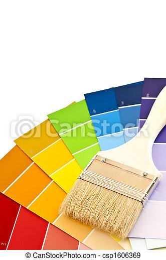 colorare, vernice, cartelle, spazzola - csp1606369