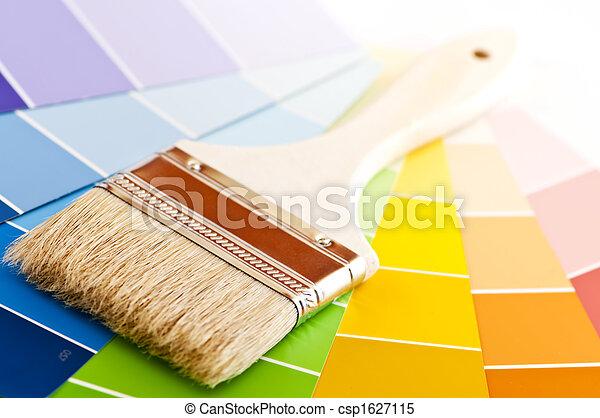 colorare, vernice, cartelle, spazzola - csp1627115
