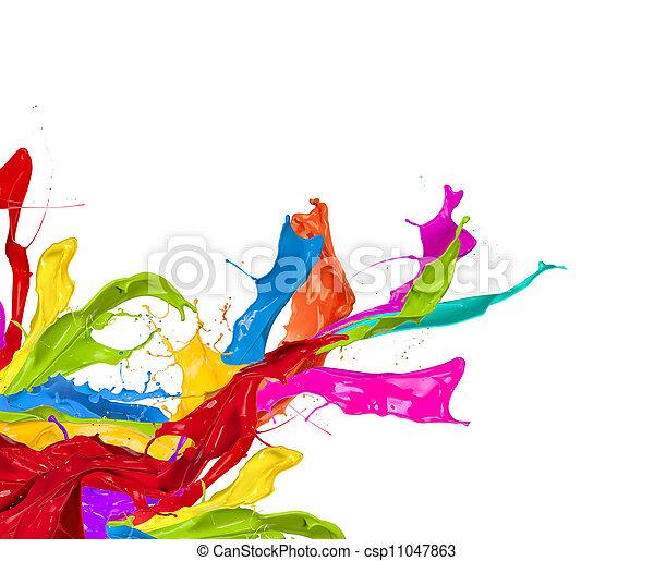 colorato, astratto, isolato, forma, schizzi, fondo, bianco - csp11047863