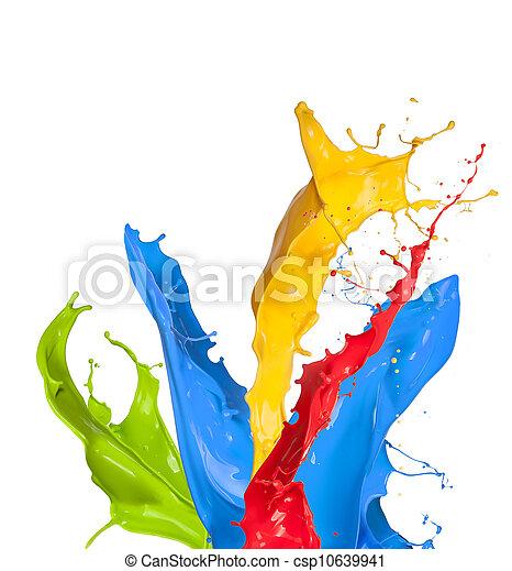colorato, schizzi, fondo, isolato, vernice, bianco - csp10639941