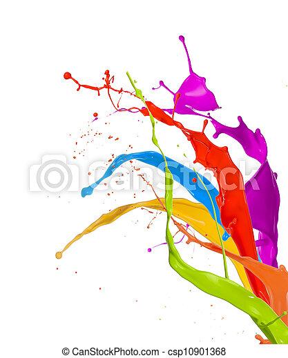 colorato, schizzi, fondo, isolato, vernice, bianco - csp10901368