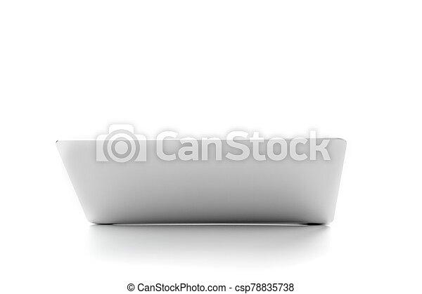 colore, grigio, coperchio, quaderno, laptop, ritaglio, vista, metalic, path., scheggia, tafanario, aperto, fondo., bianco - csp78835738