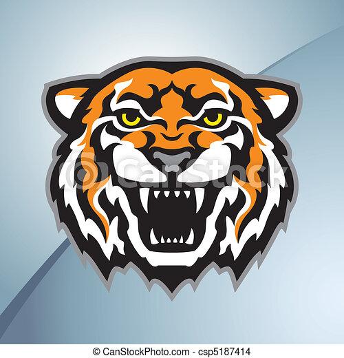 colore tigre, testa, mascotte - csp5187414