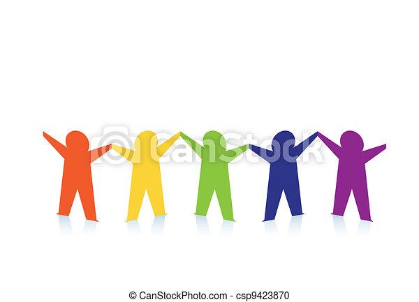 colorito, persone, astratto, carta, isolato, bianco - csp9423870