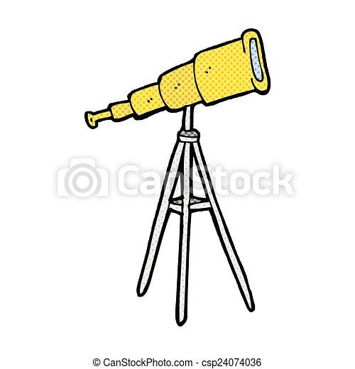 comico, cartone animato, telescopio - csp24074036
