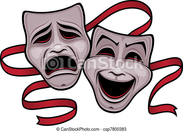 commedia, teatro, tragedia maschera - csp7800383