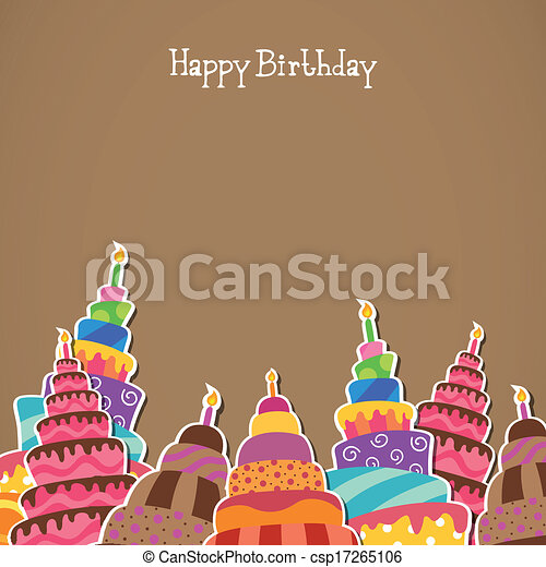 compleanno, vettore, cartolina auguri, felice - csp17265106