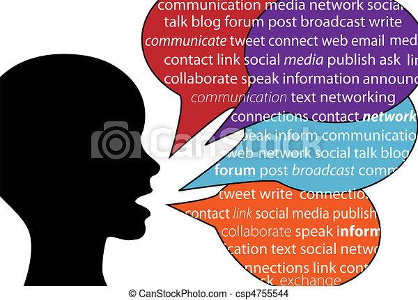 comunicazione, sociale, persona, discorso, parole, testo - csp4755544