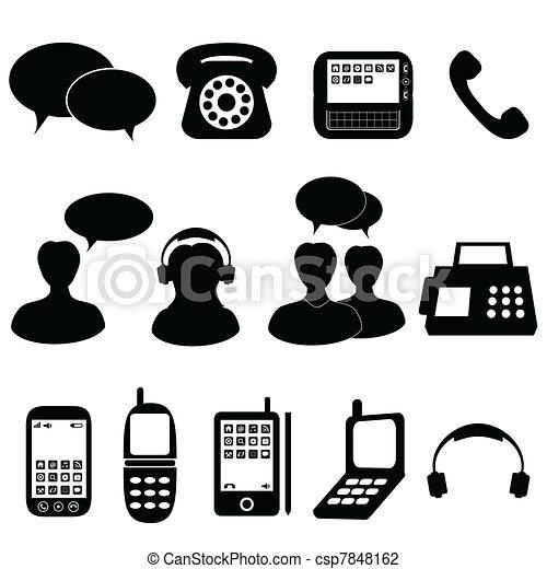 comunicazione, telefono, icone - csp7848162