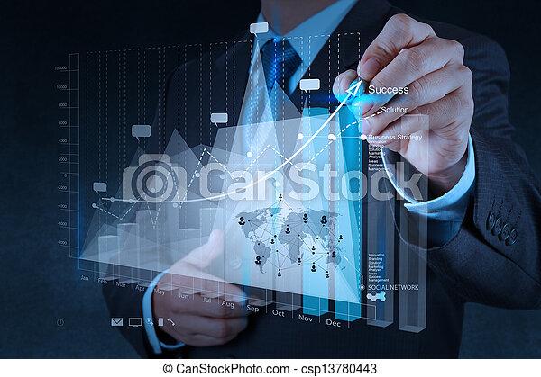 concetto, affari, lavorativo, moderno, mano, computer, uomo affari, nuovo, strategia - csp13780443