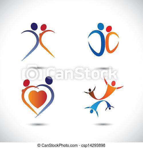 concetto, amore, graphic-, coppia, insieme, vettore, gioia, saltare - csp14293898