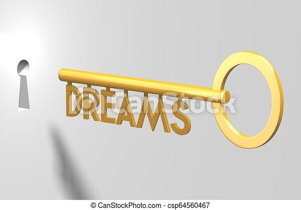 concetto, -, chiave, fare un sogno, 3d - csp64560467