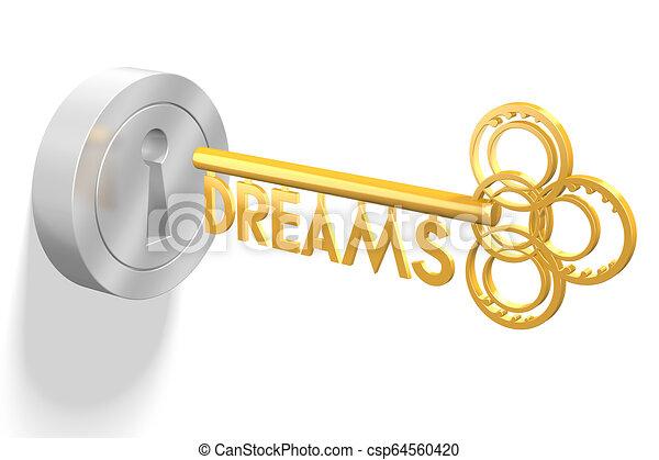 concetto, -, chiave, fare un sogno, 3d - csp64560420