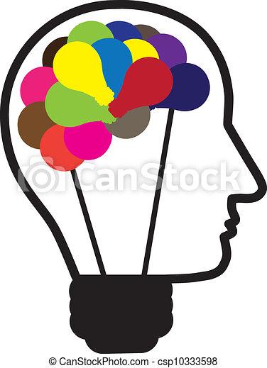 concetto, idea, forma, brain., umano, fuori, lampadine, mostrato, risolvere, idee, anche, essere, testa, usato, creare, thinking., illustrazione, bulbo, scatola, luce, multicolor, lattina, problema - csp10333598
