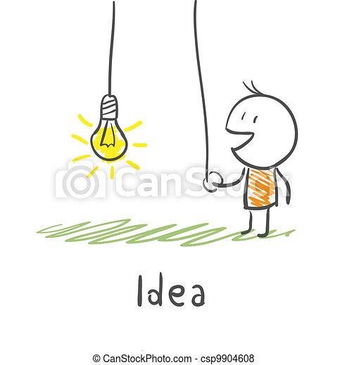 concetto, illustration., luce, include, idea., persona, bulb. - csp9904608