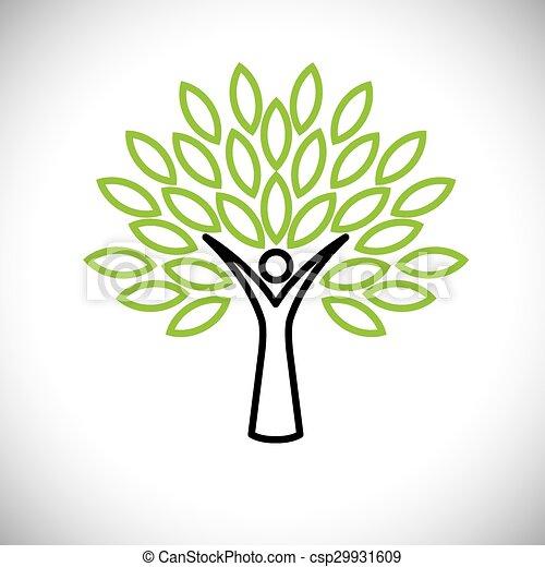 concetto, persone, eco, -, foglie, albero, vettore, verde, linea, icona - csp29931609
