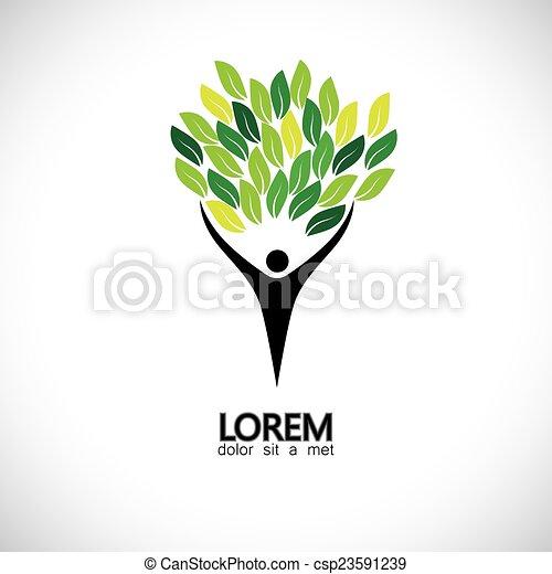 concetto, persone, eco, -, foglie, albero, vettore, verde, icona - csp23591239