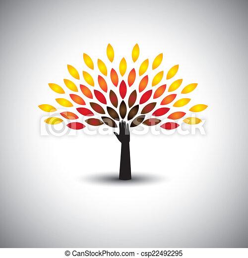 concetto, stile di vita, colorito, persone, eco, -, albero, mano, vettore - csp22492295
