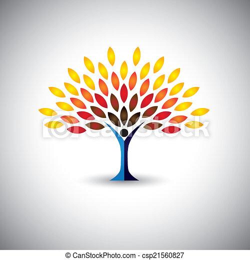 concetto, stile di vita, colorito, persone, eco, -, albero, vettore - csp21560827