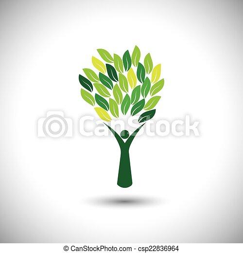 concetto, stile di vita, colorito, persone, eco, -, albero, vector. - csp22836964