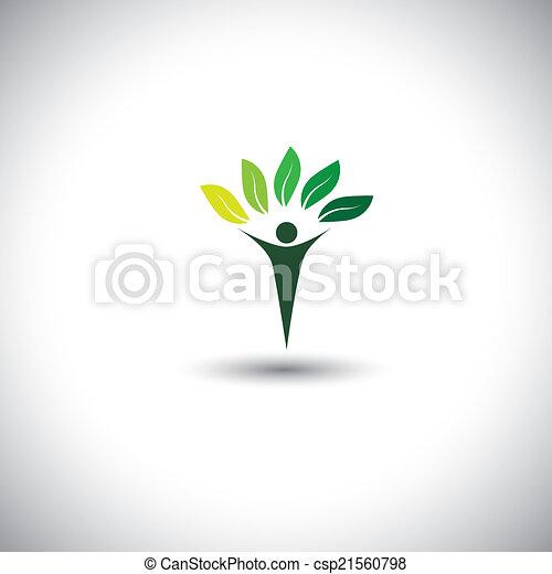 concetto, stile di vita, natura, eco, &, -, vettore, icon., equilibrio, persone - csp21560798