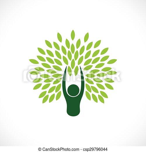 concetto, stile di vita, natura, eco, albero, -, persona, vector. - csp29796044