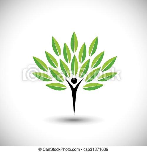 concetto, stile di vita, natura, eco, &, -, vettore, equilibrio, persone, icona - csp31371639