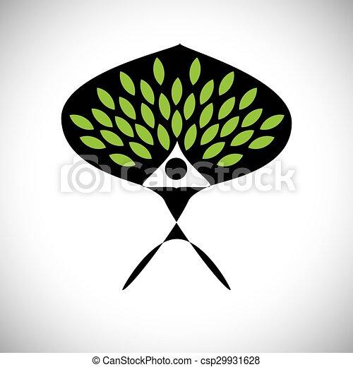 concetto, stile di vita, persone, eco, -, natura, albero, vettore, abbracciare, o - csp29931628