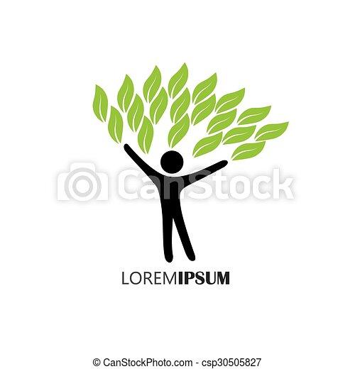 concetto, stile di vita, persone, eco, -, natura, albero, vector., abbracciare, o - csp30505827