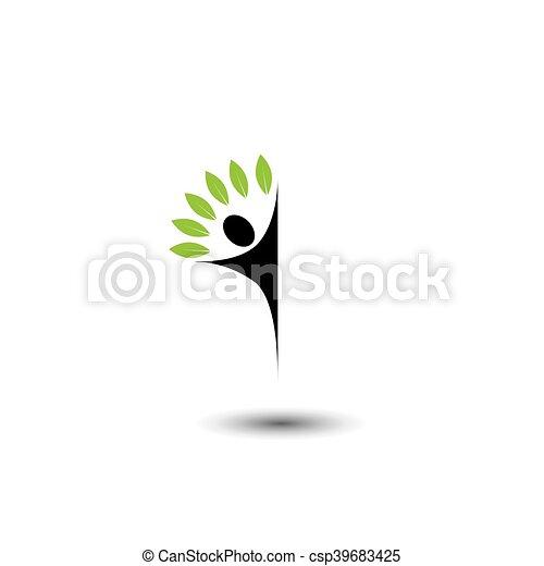 concetto, stile di vita, persone, eco, -, albero, vettore, logotipo, icona - csp39683425