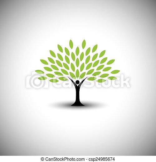 concetto, stile di vita, persone, eco, -, natura, albero, vettore, abbracciare, o - csp24985674