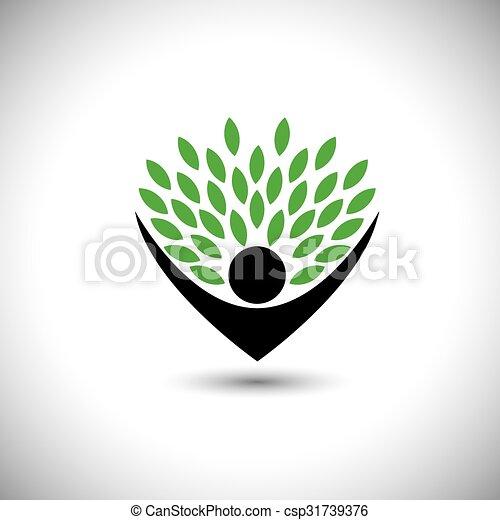 concetto, stile di vita, persone, eco, -, natura, albero, vettore, abbracciare, o - csp31739376