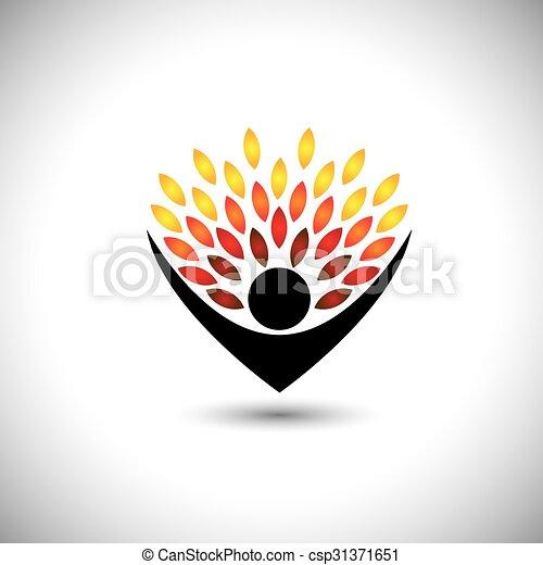 concetto, stile di vita, persone, eco, -, natura, albero, vettore, abbracciare, o - csp31371651
