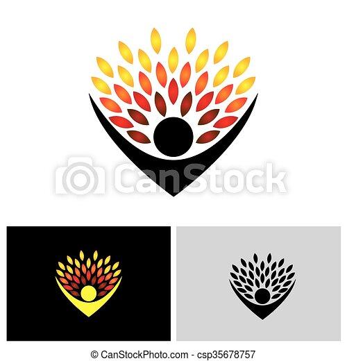 concetto, stile di vita, persone, eco, -, natura, albero, vettore, abbracciare, o - csp35678757