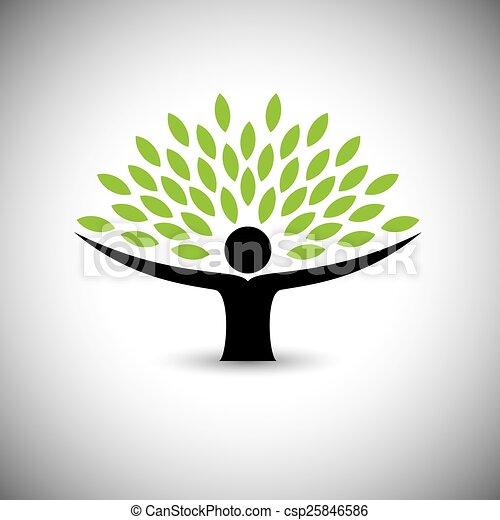 concetto, stile di vita, persone, eco, -, natura, albero, vector., abbracciare, o - csp25846586