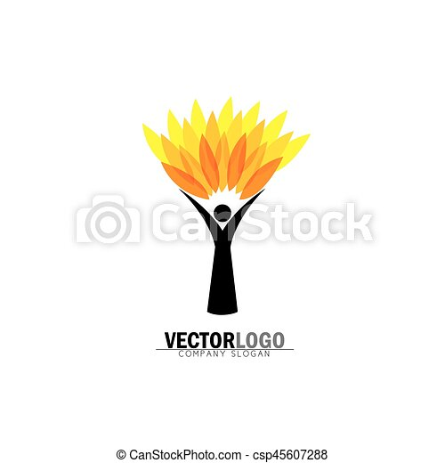 concetto, stile di vita, persone, eco, -, natura, albero, vettore, abbracciare, logotipo, o - csp45607288