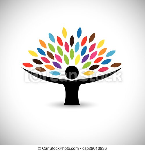 concetto, stile di vita, persone, eco, -, natura, albero, vettore, abbracciare, o - csp29018936