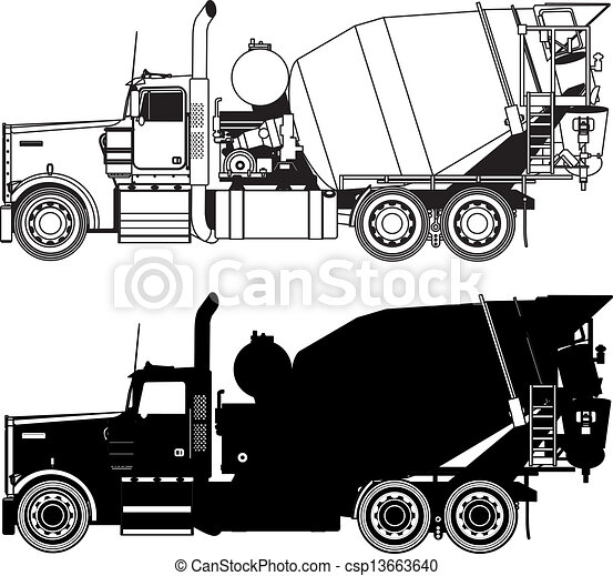 concreto, silhouette, camion, miscelatore - csp13663640
