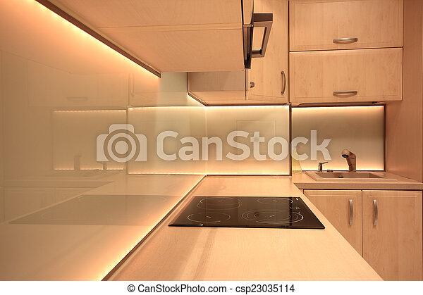 condotto, moderno, giallo, illuminazione, lusso, cucina - csp23035114