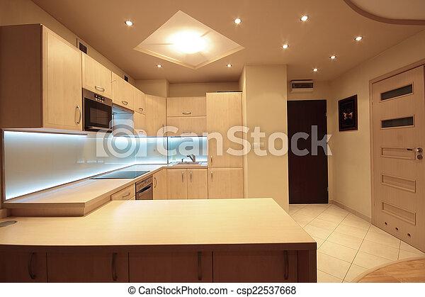 condotto, moderno, illuminazione, lusso, bianco, cucina - csp22537668
