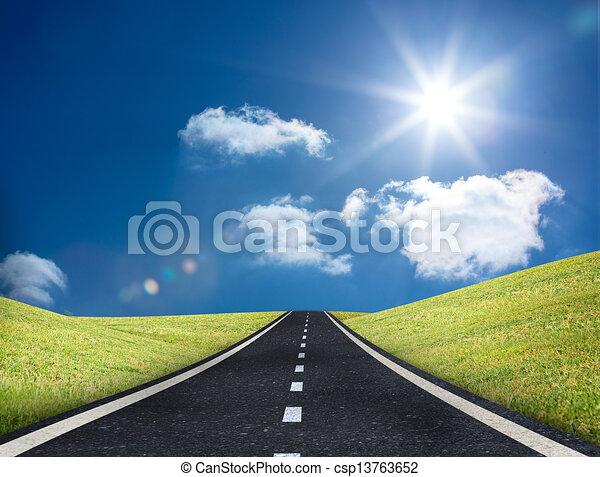 condurre, strada, fuori, orizzonte - csp13763652